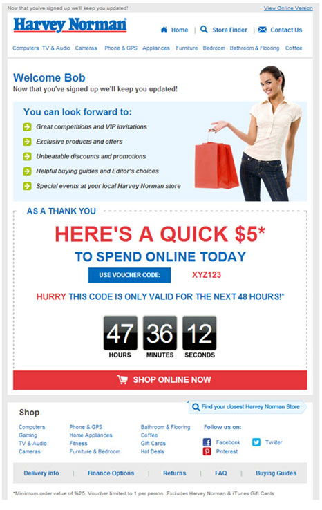 harvey-norman-welcome-email