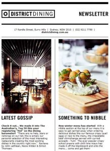 restaurant newsletter example